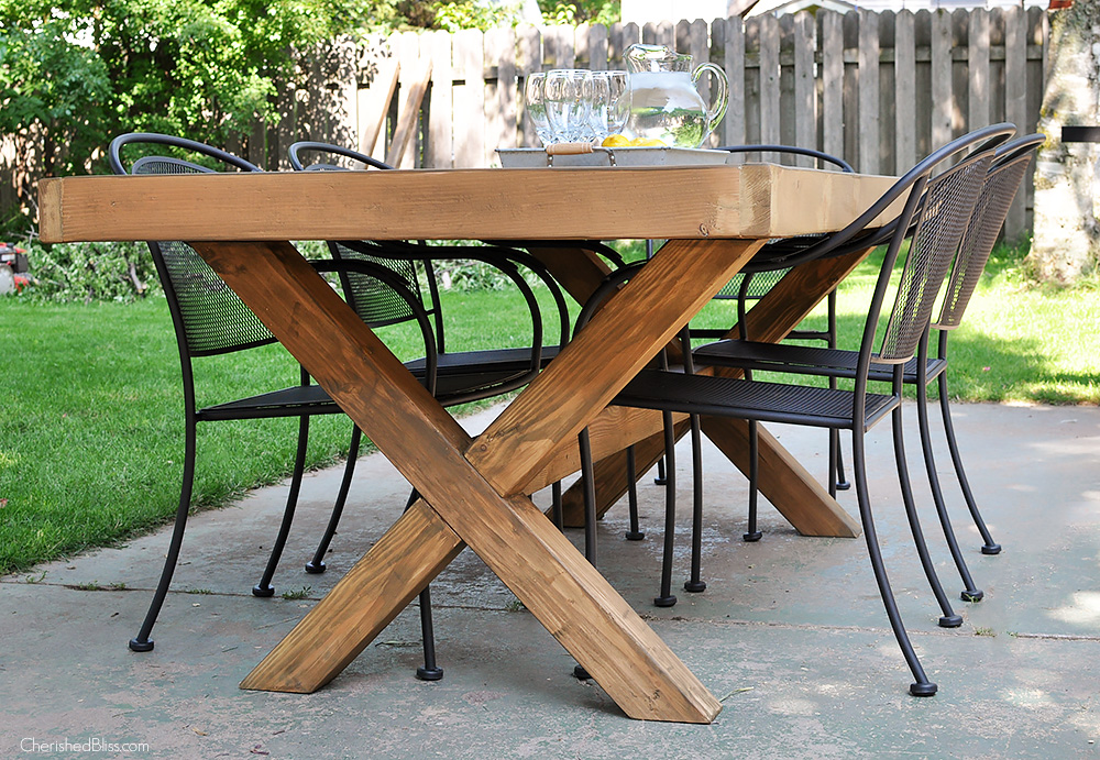 Diy outdoor table free plans cherished bliss for Farmhouse table plans with x legs