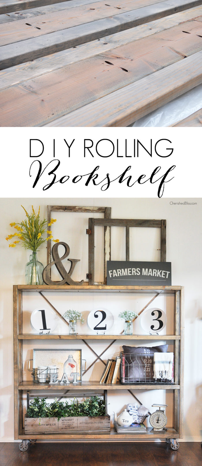 Rolling Diy Bookshelf Restoration Hardware Knockoff