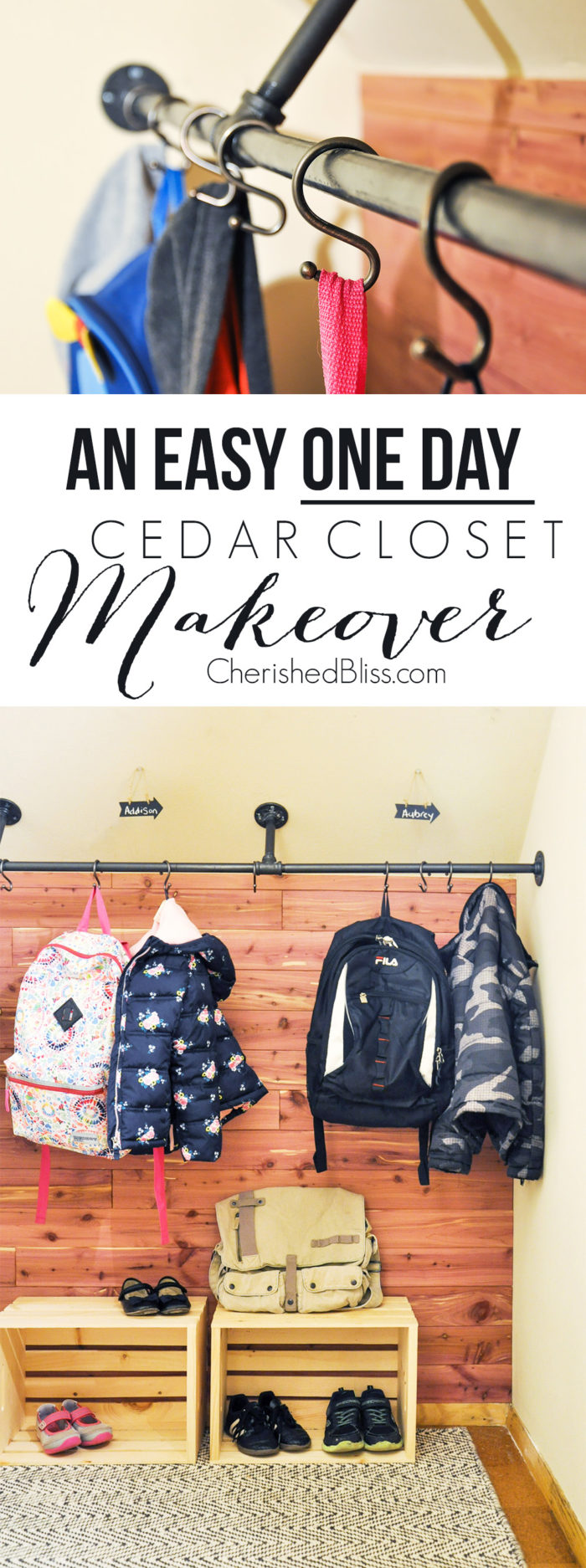 Easy One Day DIY Cedar Closet Makeover. With these simple tips you can create a gorgeous closet for storage with all the benefits of Cedar!