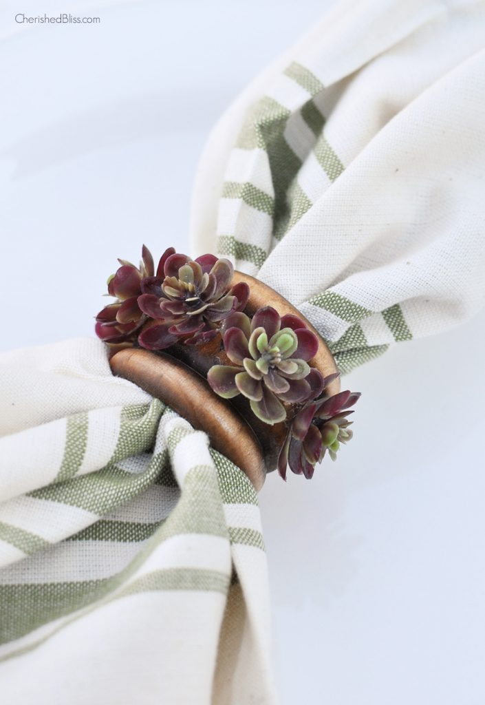 Diy Succulent Napkin Rings Cherished Bliss