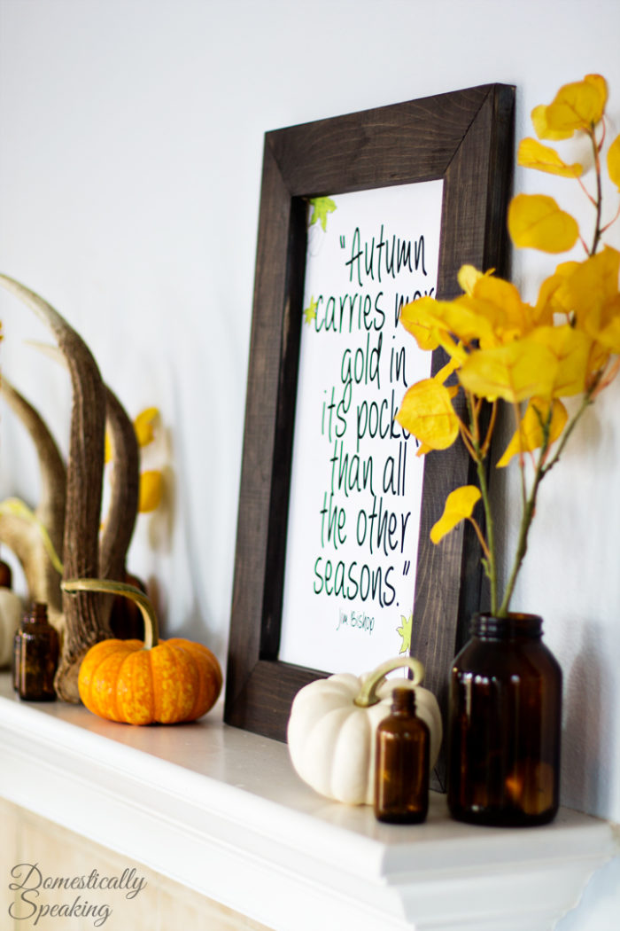 Rustic-Autumn-Mantel-with-antlers-brown-bottles-and-a-cute-free-printable-4