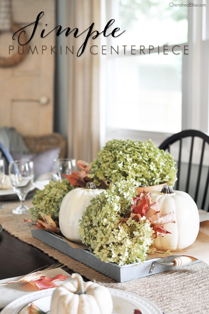 Transform your dining room table from boring to beautiful with this Simple Fall Centerpiece. Together these white pumpkins and dried hydrangeas will leave your Fall table looking gorgeous!