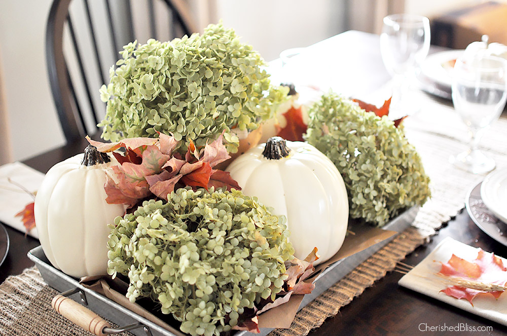 A simple fall centerpiece pumpkin palooza cherished bliss for Simple pumpkin centerpieces