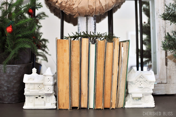 DIY Snowy Village Book Ends