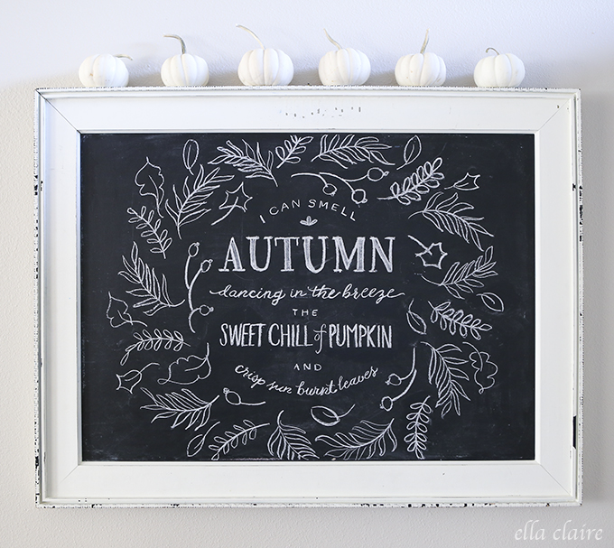 Autumn Chalkboard Decor Idea (plus a tutorial on how to trace a drawing onto a chalkboard) - Thanksgiving DIY Decor Ideas
