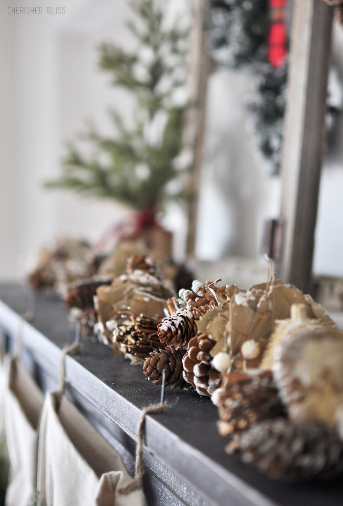Super Cozy Christmas Mantel with drop cloth stockings, mini wreaths, pine cones, and a deer head!