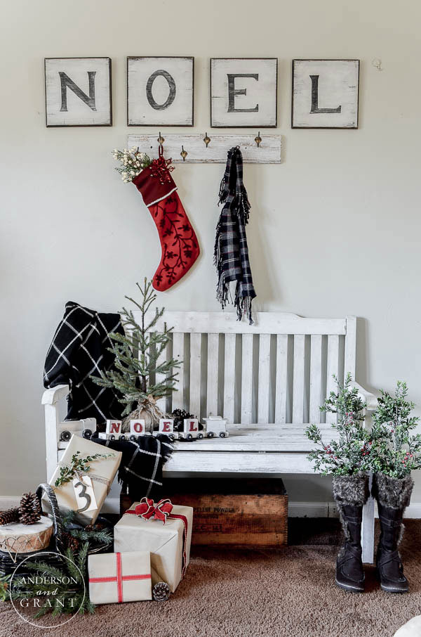 Christmas decor should inspire warmth, cuddling, and family gathering. This entry way by Anderson & Grant is sure to keep your home cute and cozy this season!