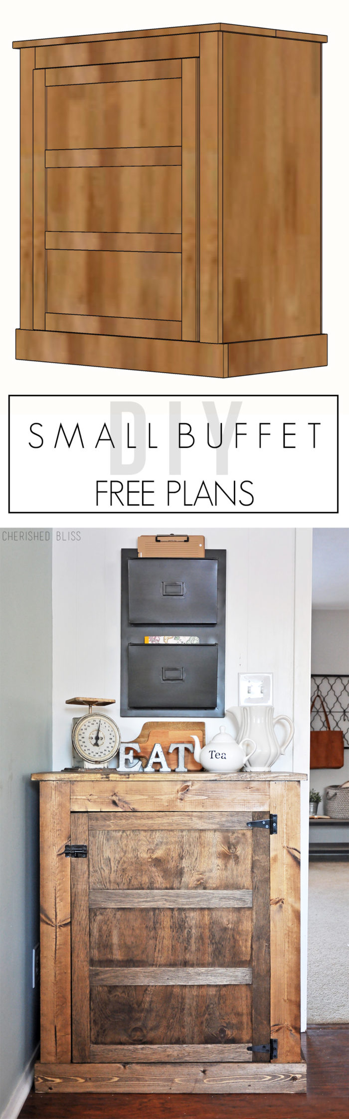 Build this DIY Farmhouse Buffet with these easy to follow free plans. This buffet is perfect for extra storage in small spaces!