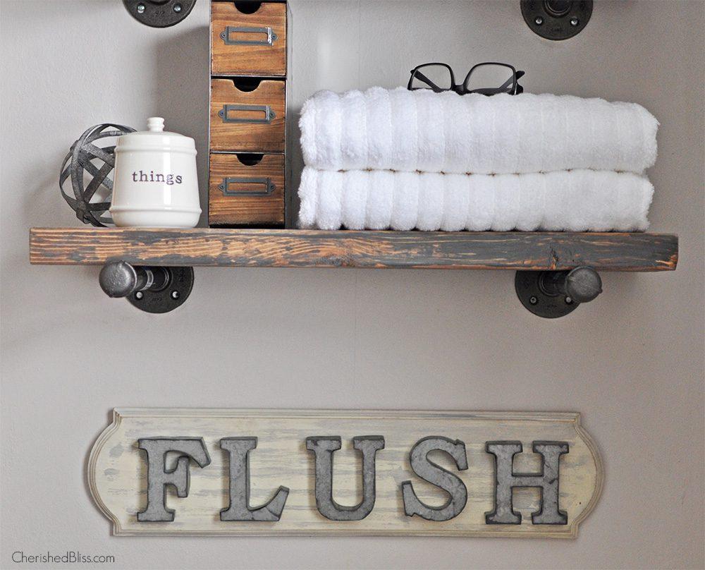 Create This Adorable DIY Industrial Farmhouse Bathroom Sign With Easy To Follow Tutorial