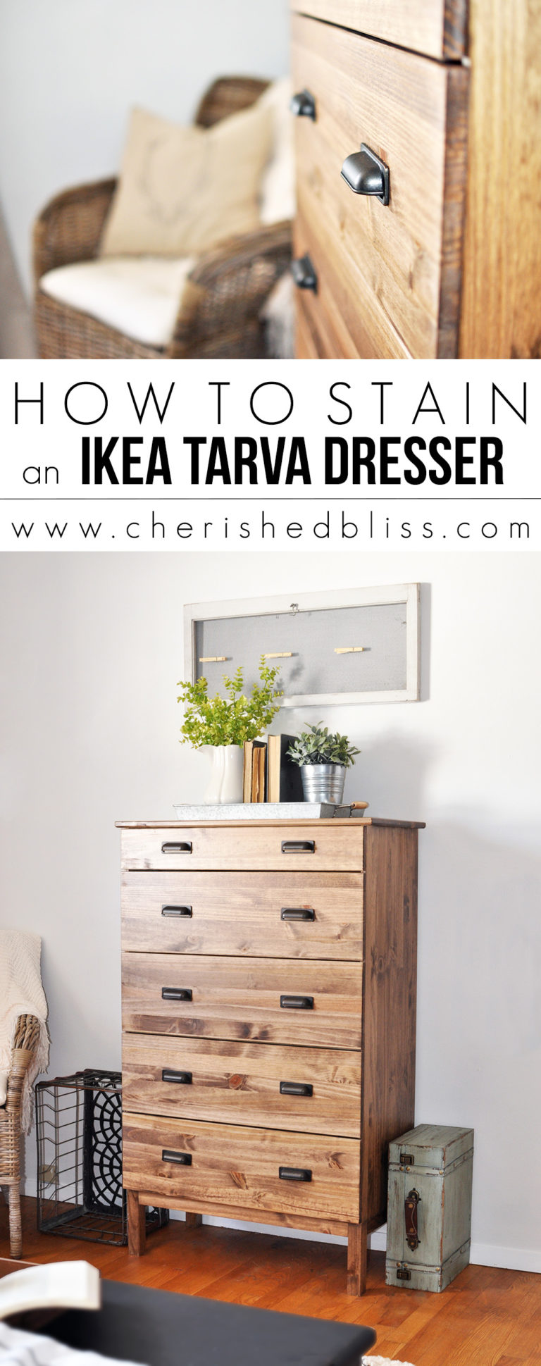 Ikea Hack | How to Stain an Ikea Tarva Dresser | Joanna Gaines Approved DIY Projects
