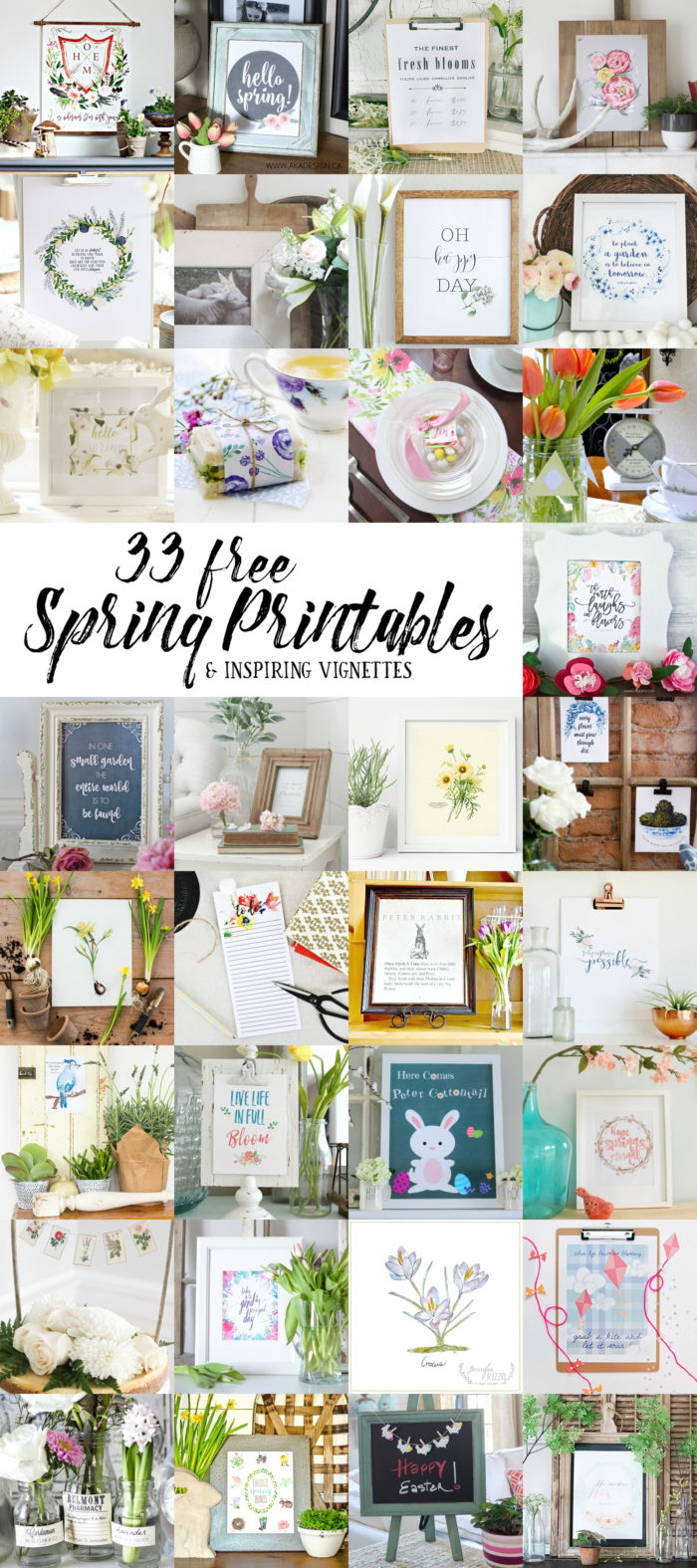 33 free spring printables. Botanical Farmhouse Mantel.