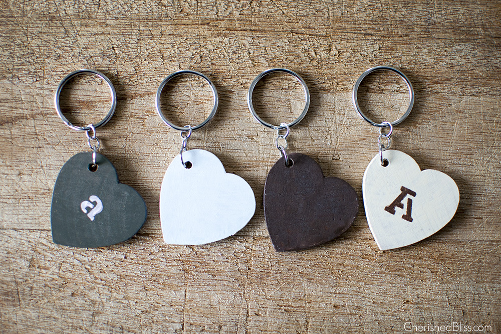 Diy Keychains Made From Wooden Hearts Cherished Bliss