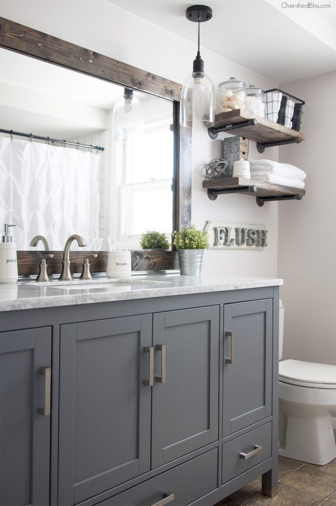 Industrial Farmhouse Bathroom Reveal - Cherished Bliss