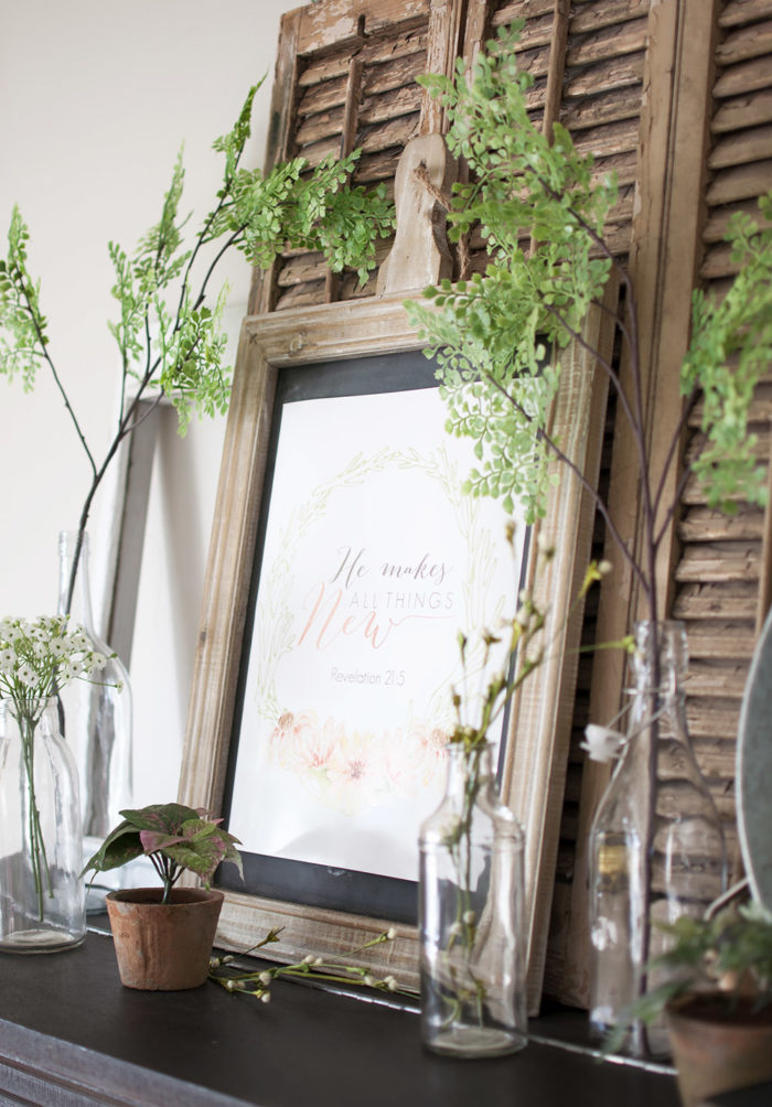 Botanical Farmhouse Mantel PLUS Free Spring Printable.