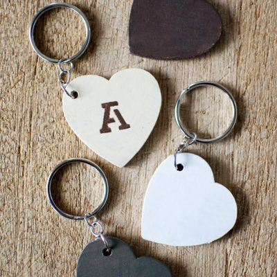 DIY Keychains made from Wooden Hearts