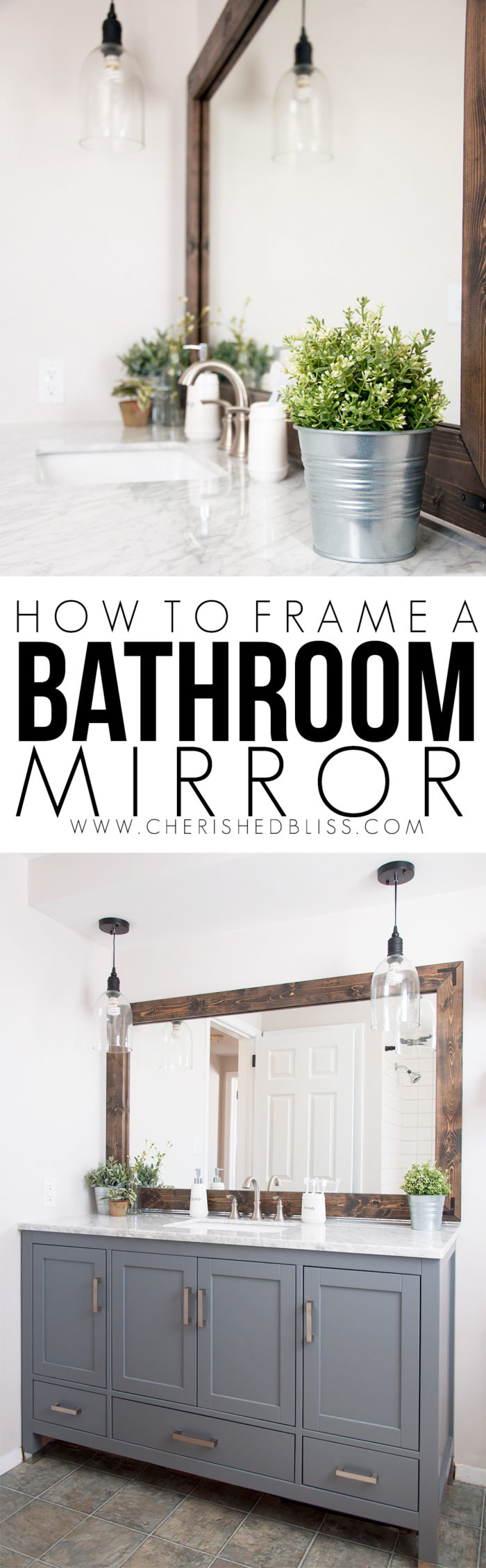 How to frame bathroom mirrors - Improve The Value Of Your Bathroom With This Easy Tutorial On How To Frame A Bathroom