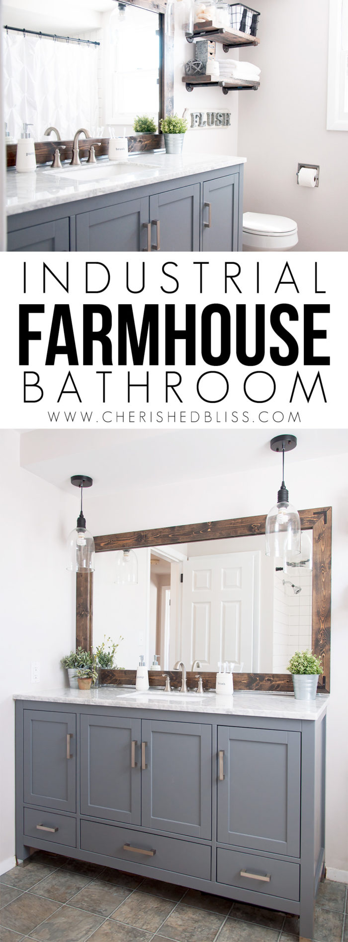 Industrial farmhouse bathroom reveal cherished bliss for Industrial farmhouse exterior