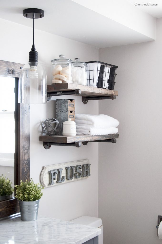 Industrial farmhouse bathroom reveal cherished bliss for Bathroom shelves design