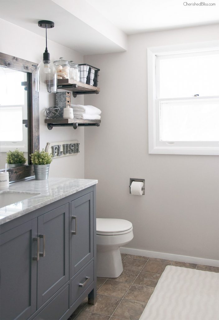 Industrial farmhouse bathroom reveal cherished bliss for Bathroom decor farmhouse