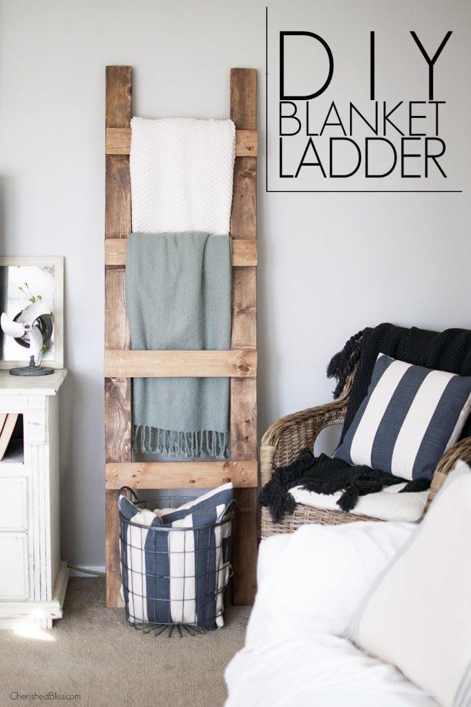 Diy blanket ladder free plans cherished bliss for Living room blanket storage