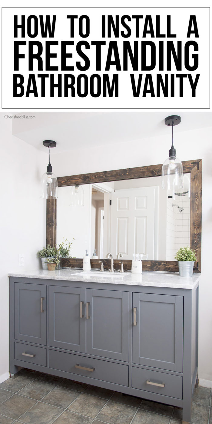 Stand Alone Bathroom Vanity How To Install A Freestanding Bathroom Vanity  Cherished Bliss