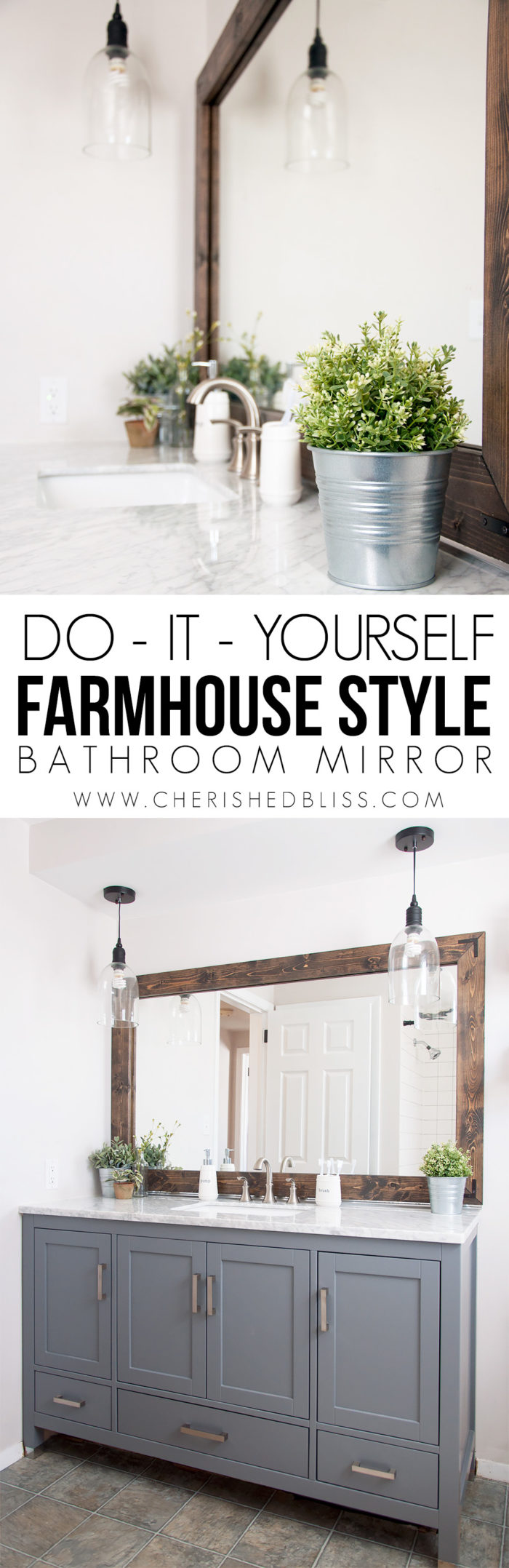 Farmhouse Bathroom Mirror Tutorial Cherished Bliss