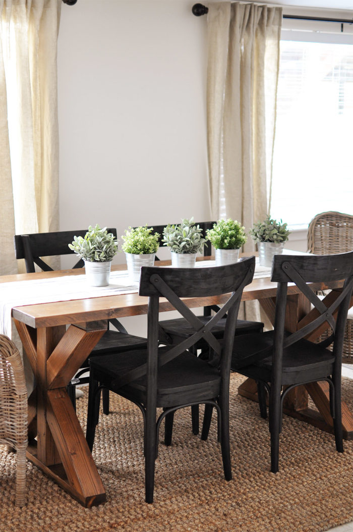 Industrial Farmhouse X Base Dining Room Table