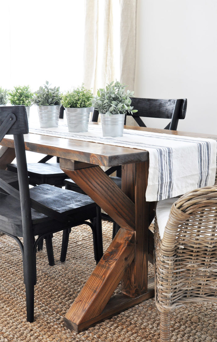X brace farmhouse table free plans cherished bliss for Building a farmhouse