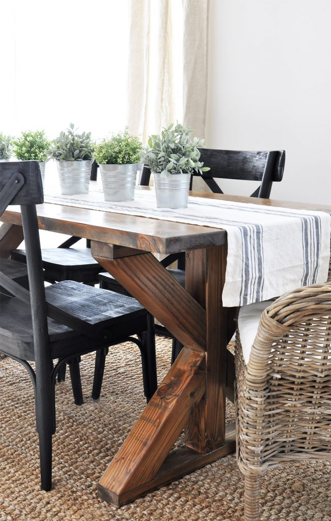 X Brace Farmhouse Table | Free Plans - Cherished Bliss