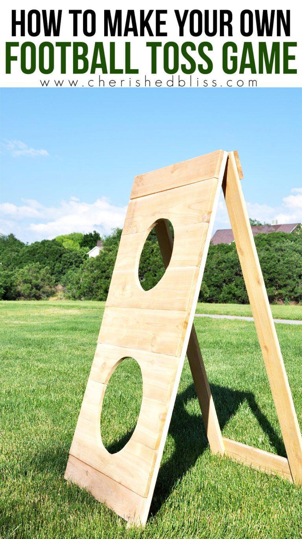 A wooden DIY football toss