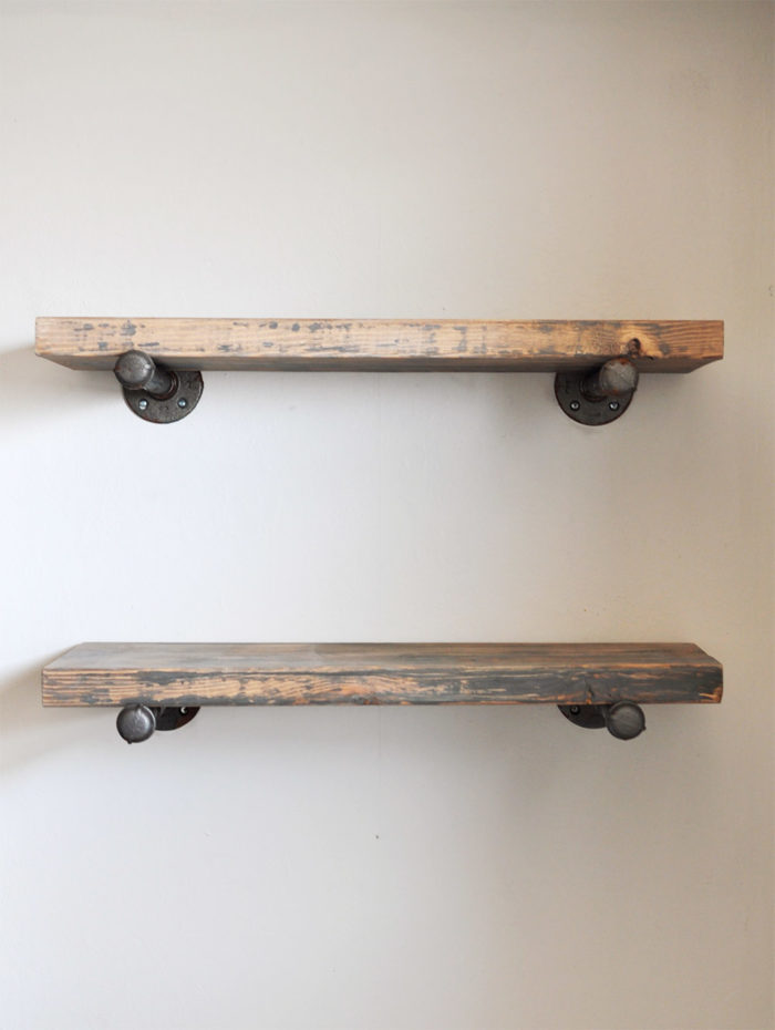 Learn how to Build these Easy DIY Industrial Pipe Shelves.