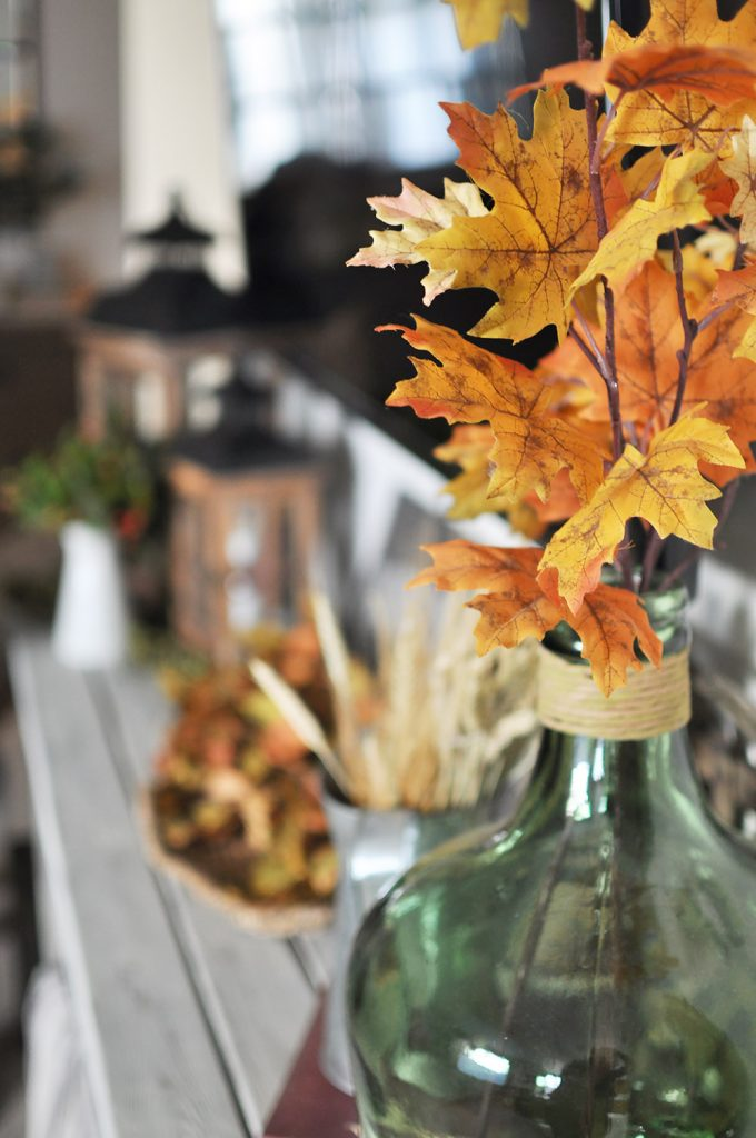 Gorgeous Fall Mantel Decor for when you don't have a mantel. See how this blogger decorates her TV Stand in place of a fireplace and mantel.
