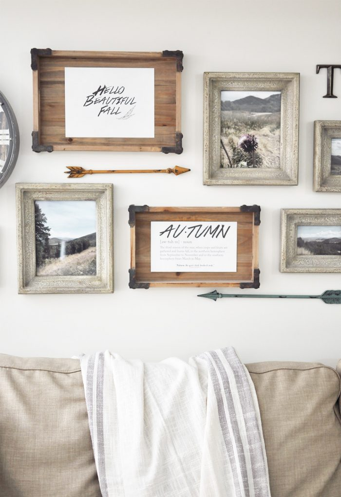 Framed photography and Free Fall printables to use in Fall Decor.