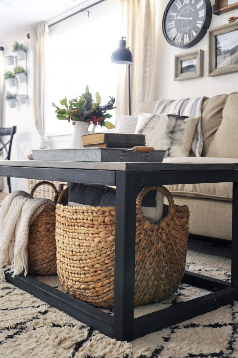 industrial farmhouse coffee table by cherished bliss