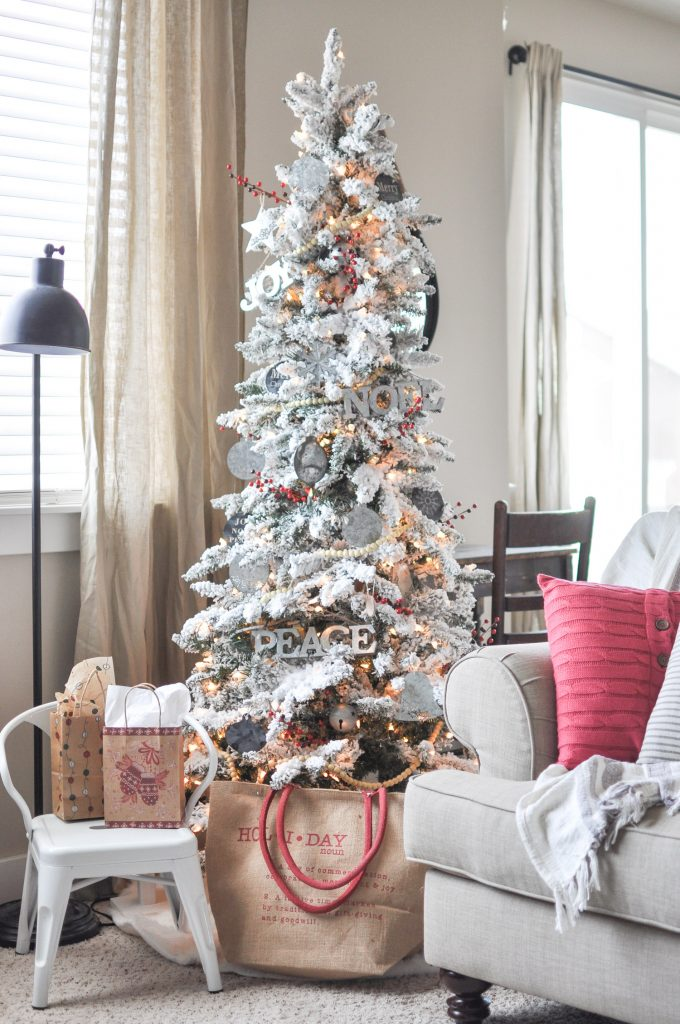 this beautiful modern farmhouse christmas tree was easily created with chalkboard and galvanized metal ornaments followed