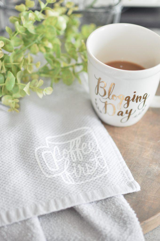Coffee Kitchen Towel Tutorial | Cricut Explore Air