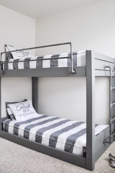 Get the Free Plans for this DIY Industrial Bunk Bed!