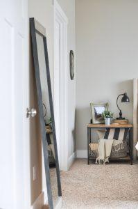 Metal and Wood Floor Mirror