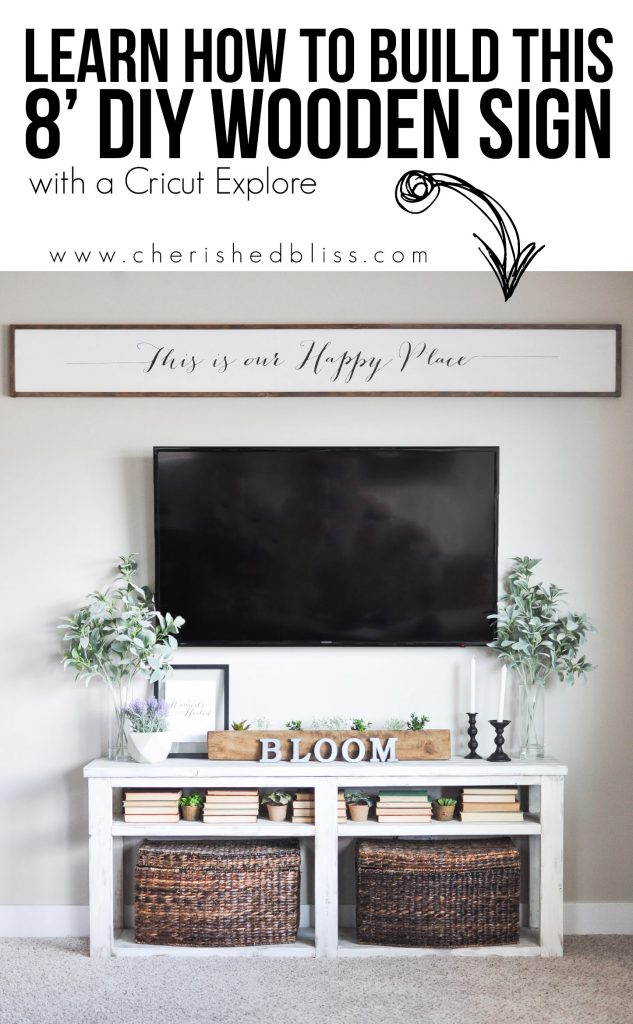 Learn how to build your own custom DIY Large Wooden Sign! With this tutorial you can use the Cricut Explore for your specific sign needs!