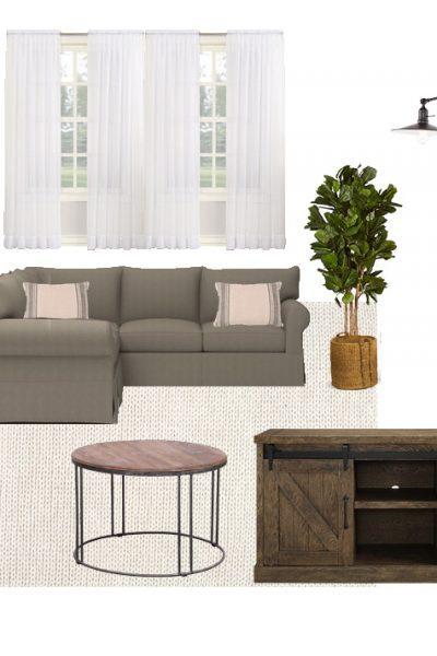 Modern Farmhouse Living Room Design Board