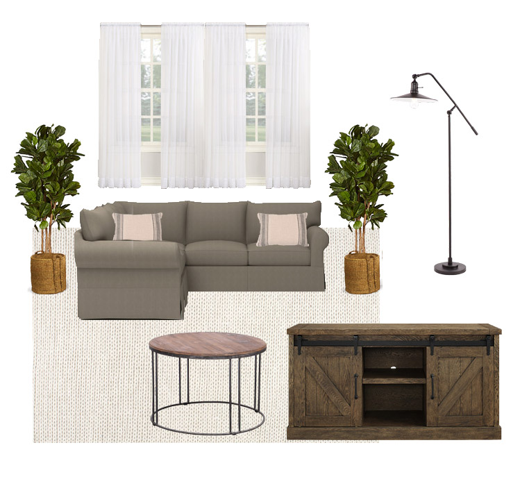 Modern Farmhouse Living Room Design Board