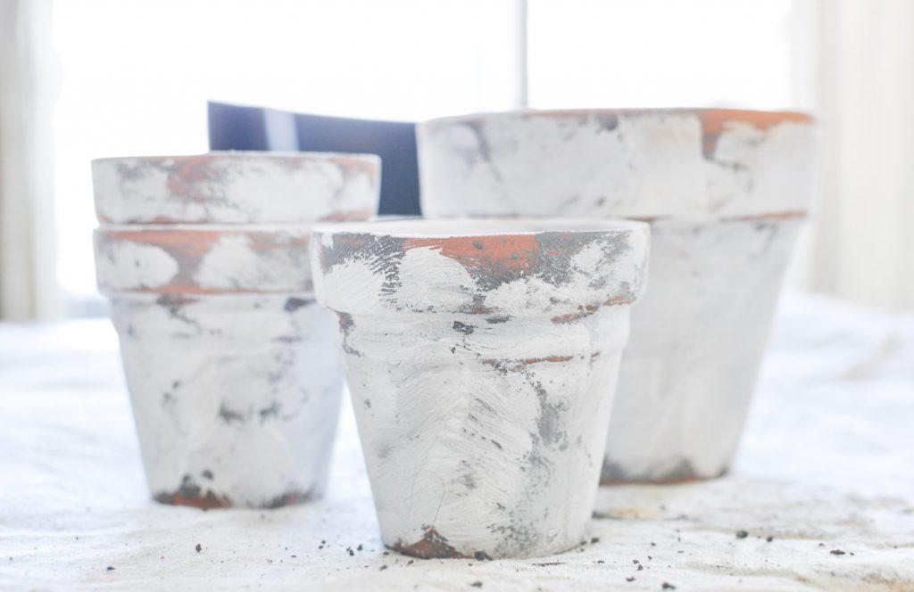 Create these beautiful Coastal Terra Cotta Pots in just a few easy steps!