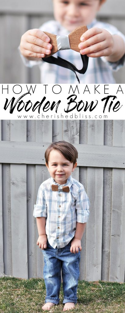 Learn how to make this adorable DIY Wooden Bow Tie! It makes the perfect photo prop for any boy (or man) in your life!