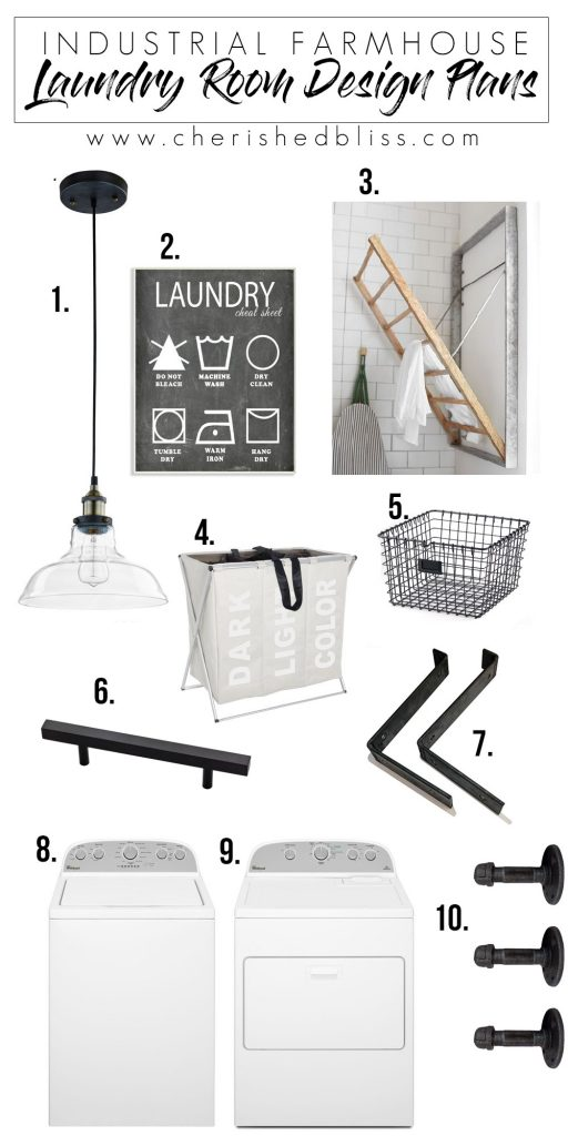 Get the look: Industrial Farmhouse Laundry Room Design Plans!
