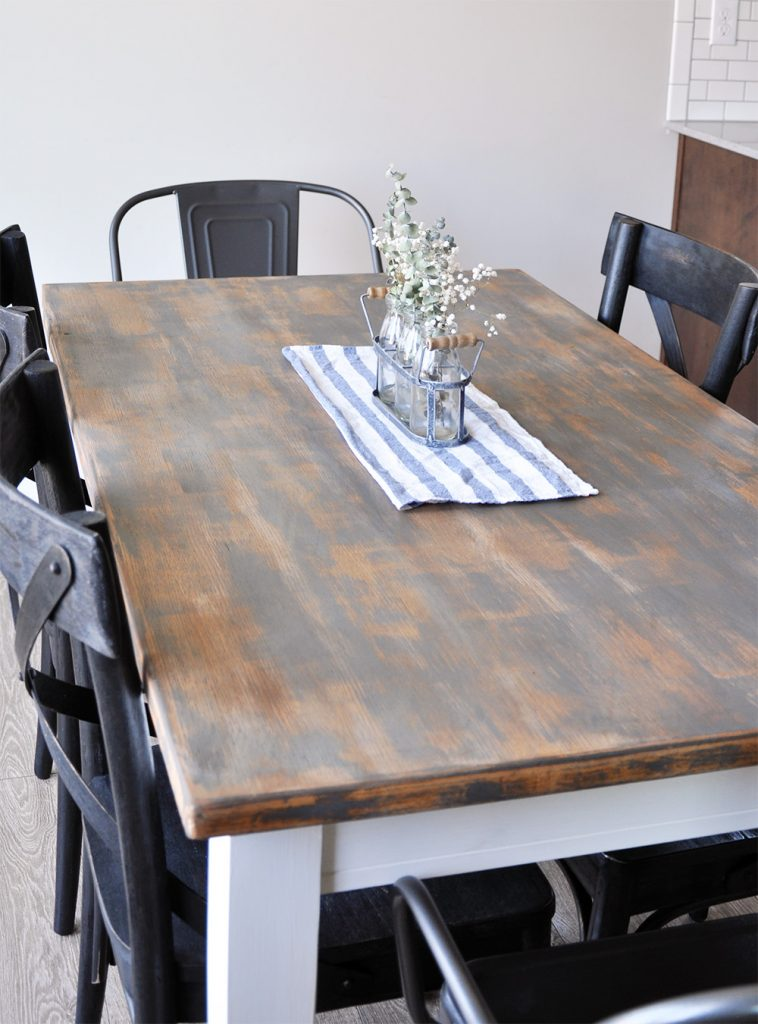 Distressed Farmhouse Dining Room Table Makeover - Cherished Bliss