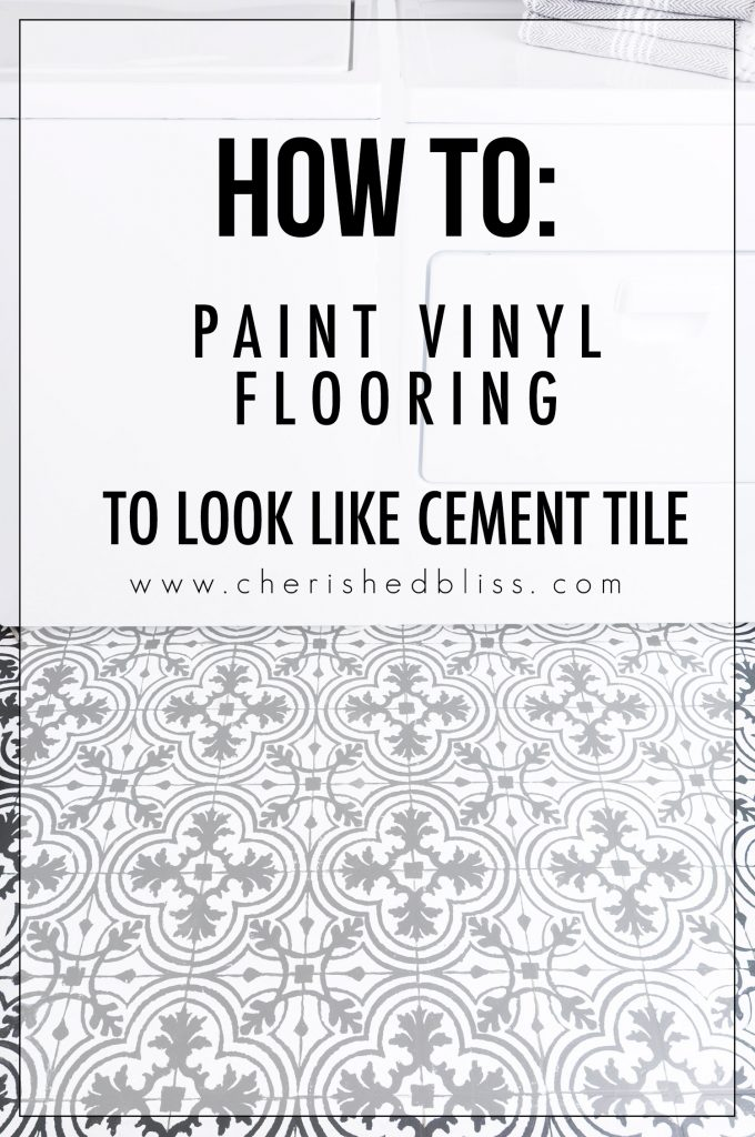 How To Paint Vinyl Floors Cement Tile Look Cherished Bliss