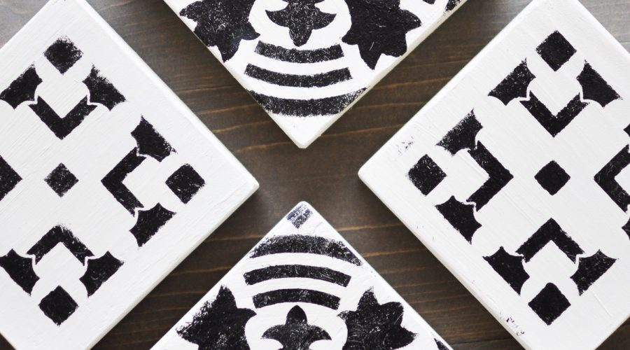 Keep your furniture safe from water ring damage with these easy to make DIY Stenciled Wooden Coasters usingFolkArt® Stencils!