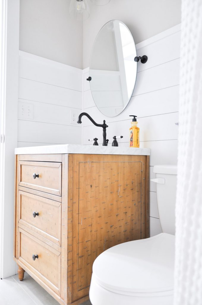 Modern farmhouse bathroom makeover cherished bliss for Small modern farmhouse