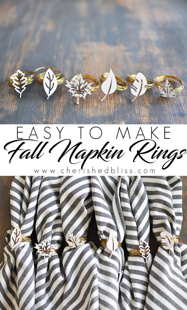 Create these beautiful and easy to make Fall Napkin Rings in just 3 easy steps. Customize with any color to fit your decor!