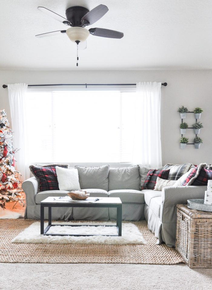 Simple Modern Farmhouse Christmas Living Room Home Tour